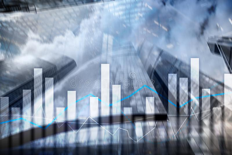 Financial graphs and charts on blurred business center background. Invesment and trading concept.  stock image