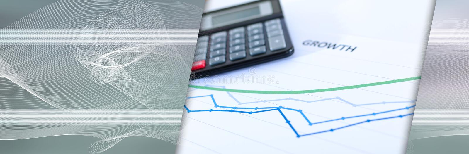 Financial graphs showing growth with calculator. panoramic banner. Financial graphs showing growth with calculator closeup. panoramic banner stock photography