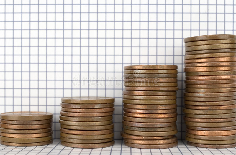 Financial Growth. Closeup image of stacks of pennies with graph paper background royalty free stock photo