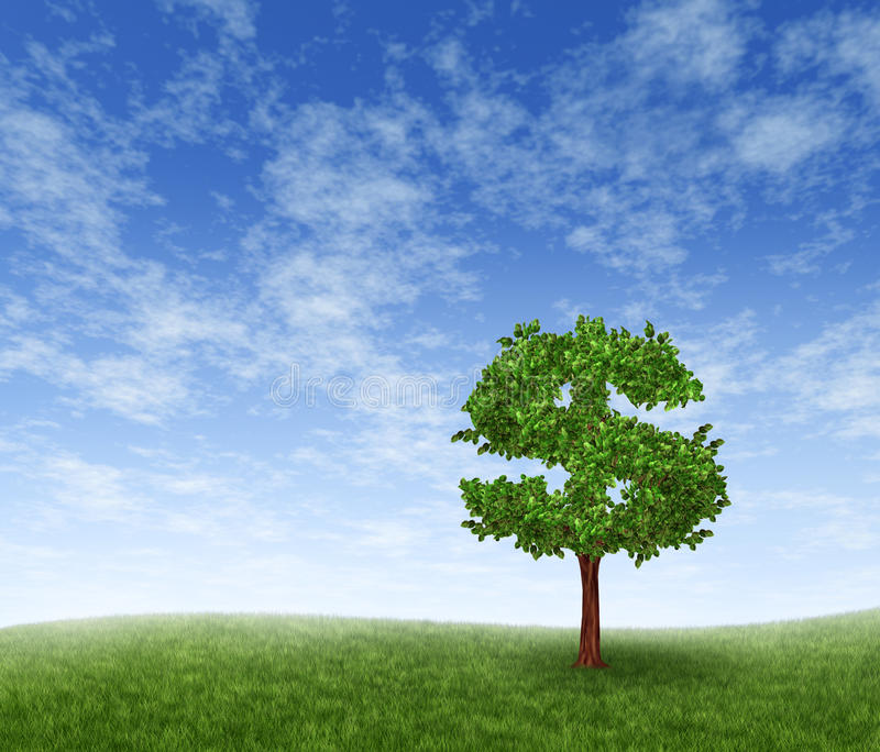 Financial Growth. And success on a green summer landscape with a single tree in the shape of a dollar sign on a rolling grass hill with a blue sky with clouds royalty free illustration