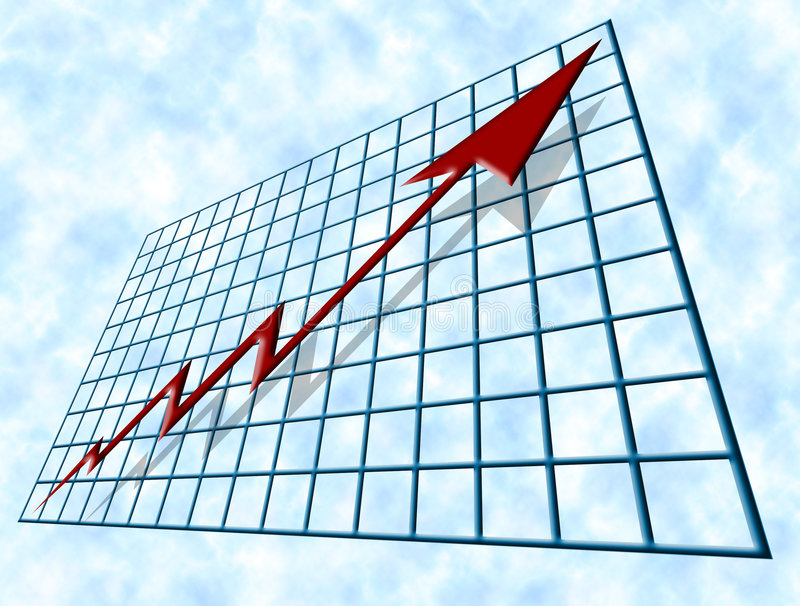 Financial Growth. Blue tube-shaped graph, chart, grid or table with a perspective that seems to vanish at it's furthest top left corner and contains a red jagged stock illustration