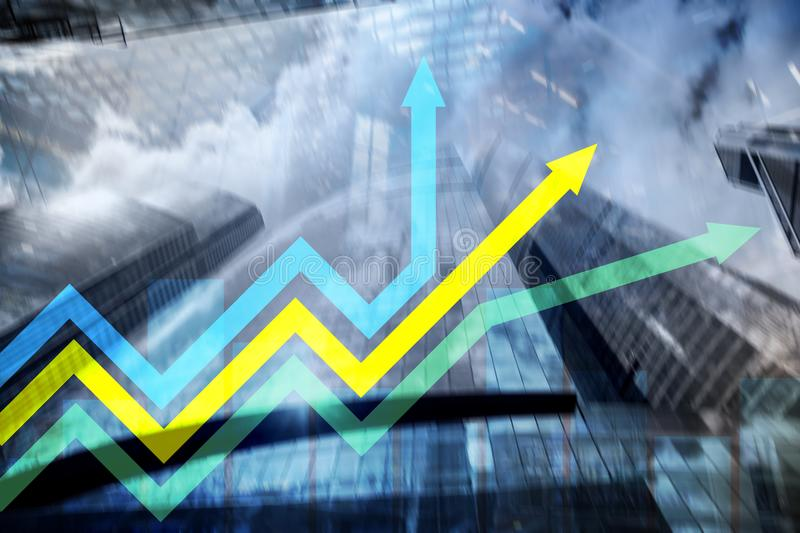 Financial growth arrows graph. Investment and trading concept.  royalty free stock photos