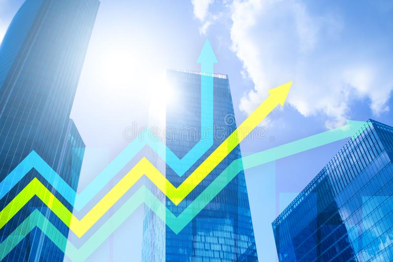 Financial growth arrows graph. Investment and trading concept.  royalty free stock image