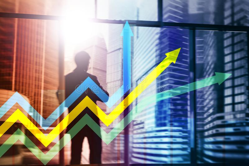 Financial growth arrows graph. Investment and trading concept. Financial growth arrows graph. Investment and trading concept royalty free stock photography