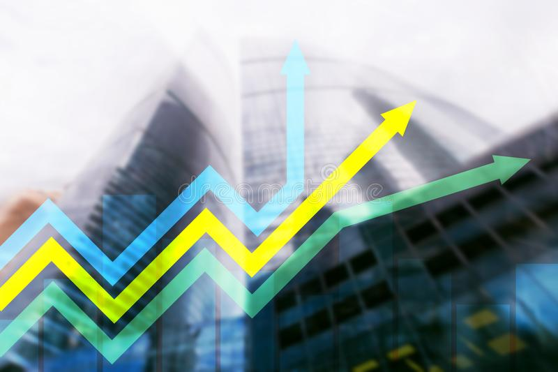 Financial growth arrows graph. Investment and trading concept.  stock photography