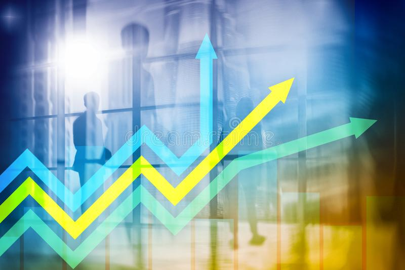 Financial growth arrows graph. Investment and trading concept.  royalty free stock photography