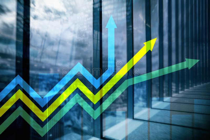 Financial growth arrows graph. Investment and trading concept stock photo