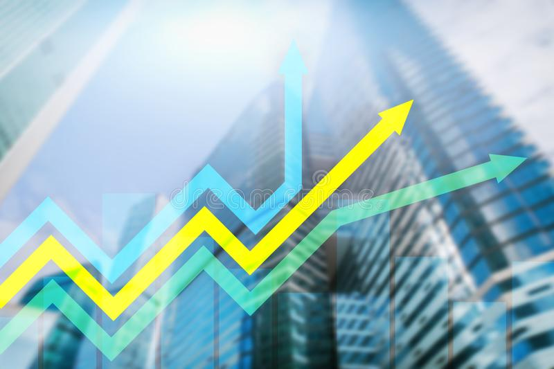 Financial growth arrows graph. Investment and trading concept.  royalty free stock images