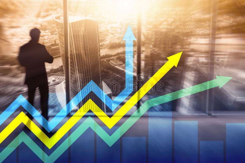 Financial growth arrows graph. Investment and trading concept.  stock photo