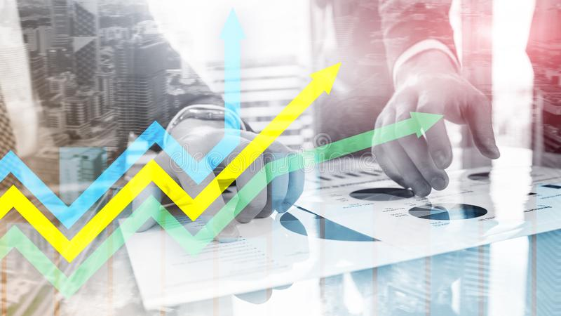 Financial growth arrows graph. Investment and trading concept. Financial growth arrows graph. Investment and trading concept royalty free stock photo