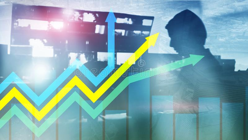 Financial growth arrows graph. Investment and trading concept. Financial growth arrows graph. Investment and trading concept royalty free stock images
