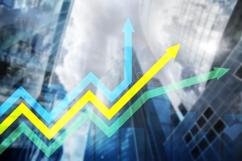 Financial growth arrows graph. Investment and trading. Concept royalty free stock photography