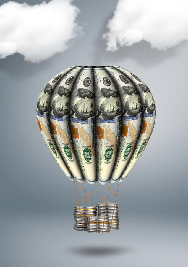 Financial growth concept, air balloon made of money royalty free stock photos