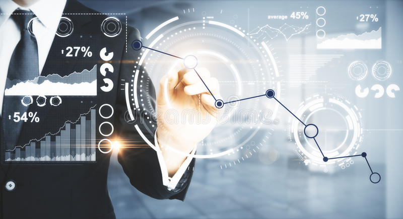 Financial growth concept. Businessman drawing chart line on abstract digital display. Financial growth concept. Blurry interior in the background. Close up royalty free stock photo
