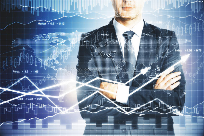 Financial growth concept. Businessman with folded arms standing on abstract forex chart background. Financial growth concept royalty free stock photos