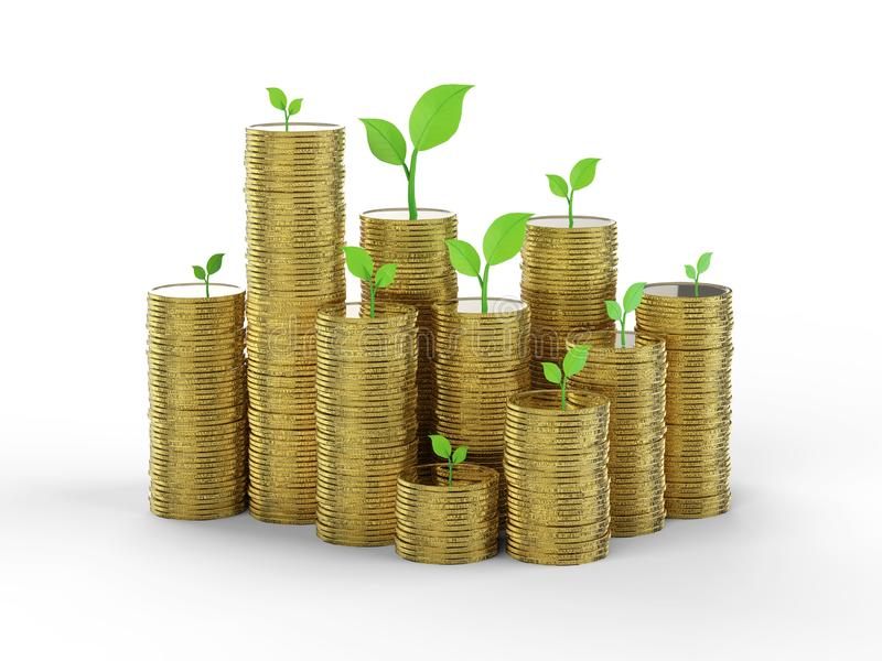 Financial growth concept. With 3d rendering stack of golden coins with green leaves royalty free stock images