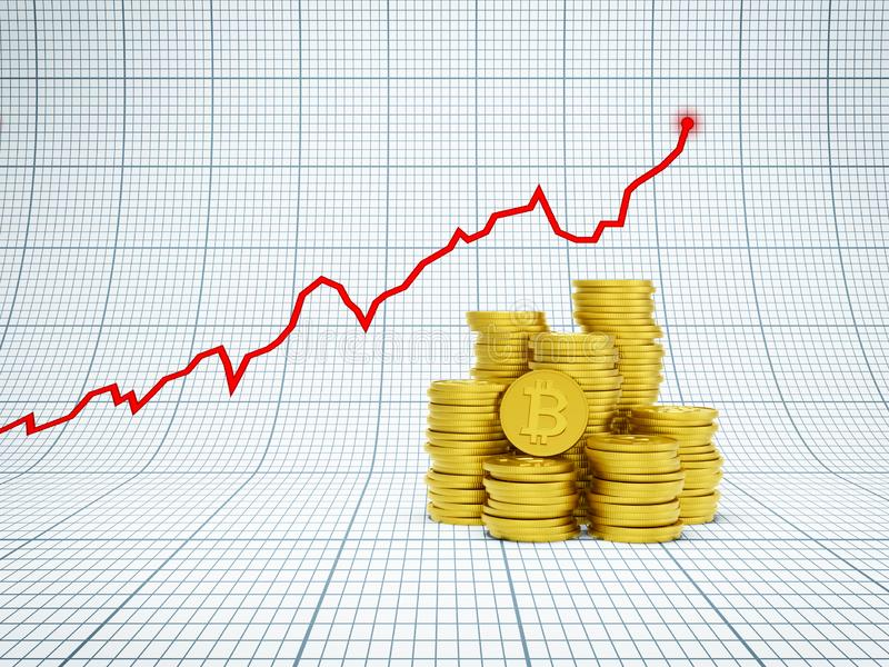 Financial growth concept with golden bitcoins. D rendering royalty free stock images