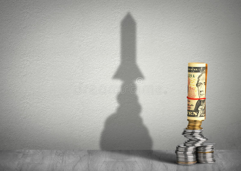 Financial growth creative concept, money with rocket shadow. Financial growth concept, money with rocket shadow stock photos