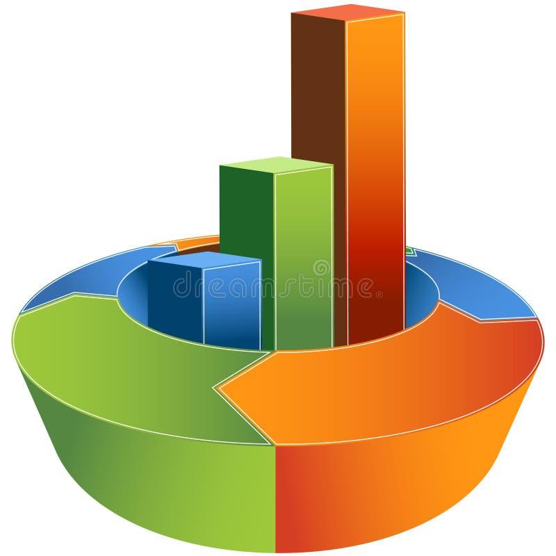 Financial Growth Graph - 3D. Financial development diagram representing growth vector illustration