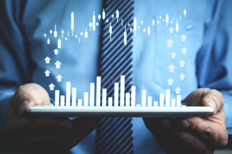 Financial growth graph. Business growth concept stock photography