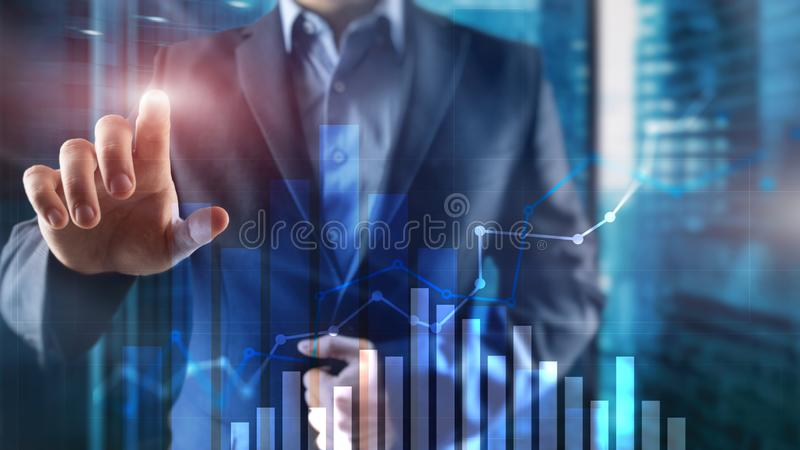 Financial growth graph. Sales increase, marketing strategy concept. royalty free stock photography