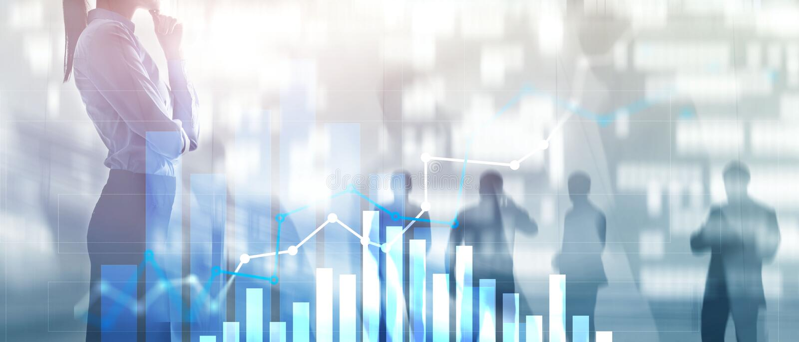 Financial growth graph. Sales increase, marketing strategy concept. stock images