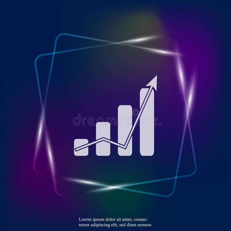 Financial growth graph vector neon light illustration. Financia. L business forecast chart. Layers grouped for easy editing illustration. For your design royalty free illustration