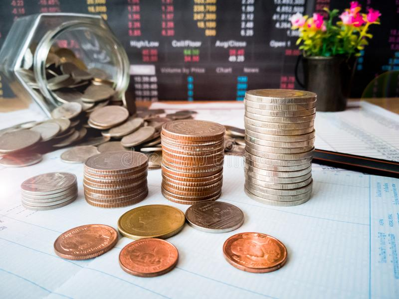 Financial growth and investment profits with financial concepts. Financial growth and investment profits with the concept of investor planning royalty free stock image
