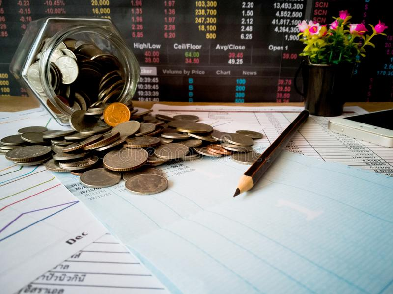 Financial growth and investment profits with financial concepts. Financial growth and investment profits with the concept of investor planning royalty free stock images