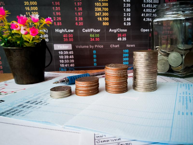 Financial growth and investment profits with financial concepts. Financial growth and investment profits with the concept of investor planning royalty free stock photos