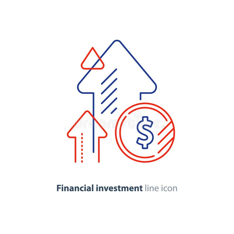 Income increase, lucrative investment, financial growth, fund rising, line icon stock illustration