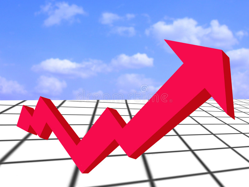 Financial Growth-red Arrow And Graph Stock Photography