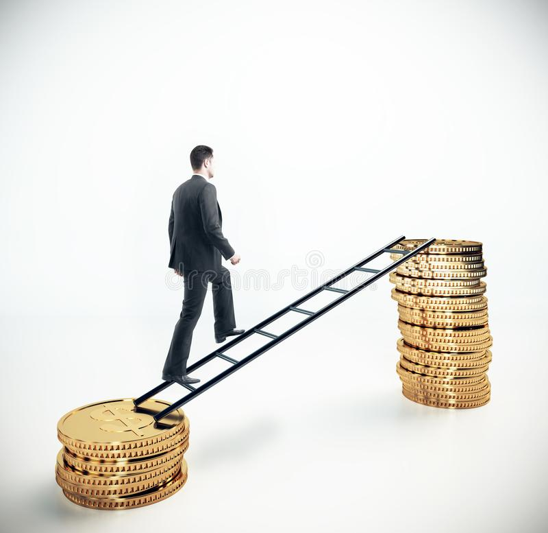 Financial growth and success concept. Businessman climbing abstract coin ladder on white background. Financial growth and success concept. 3D Rendering royalty free stock photos