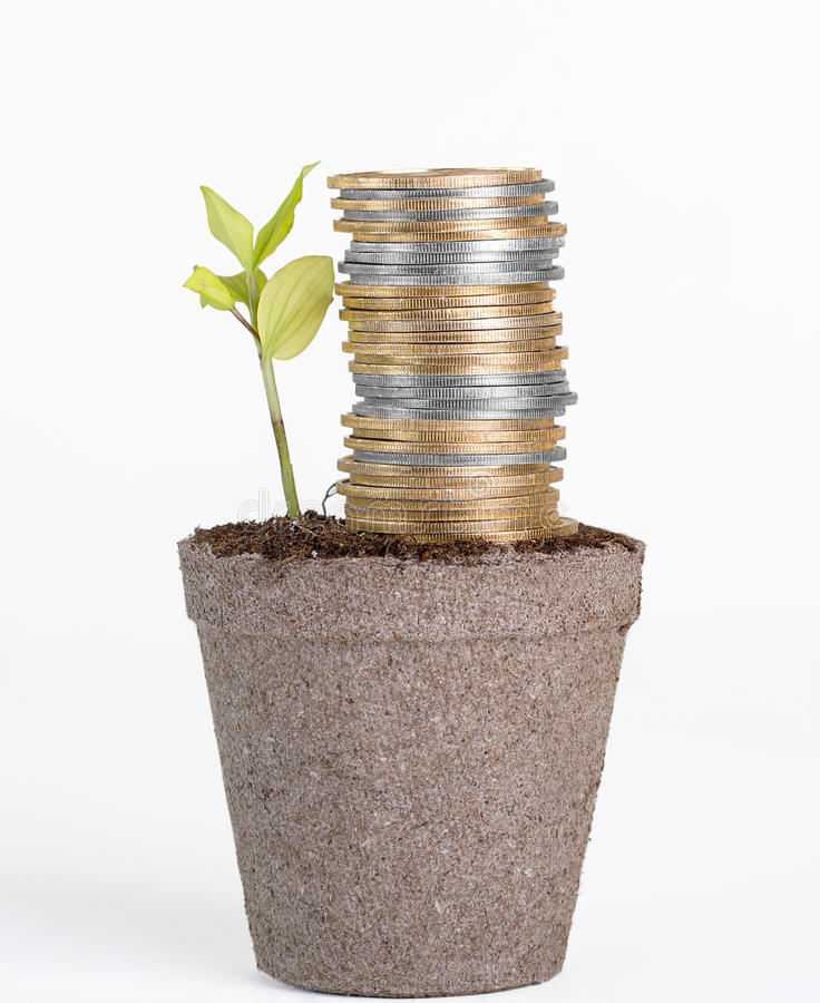 Financial Growth, Success and Security. Conceptual for financial growth, success and security through gold and silver investing. Stockpile of coins growing from stock images