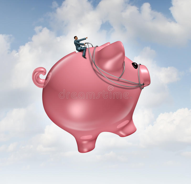 Financial Guide Success. Concept as a businessman riding and steering a flying piggy bank to wealth as a metaphor for finance leadership and growing profits royalty free illustration