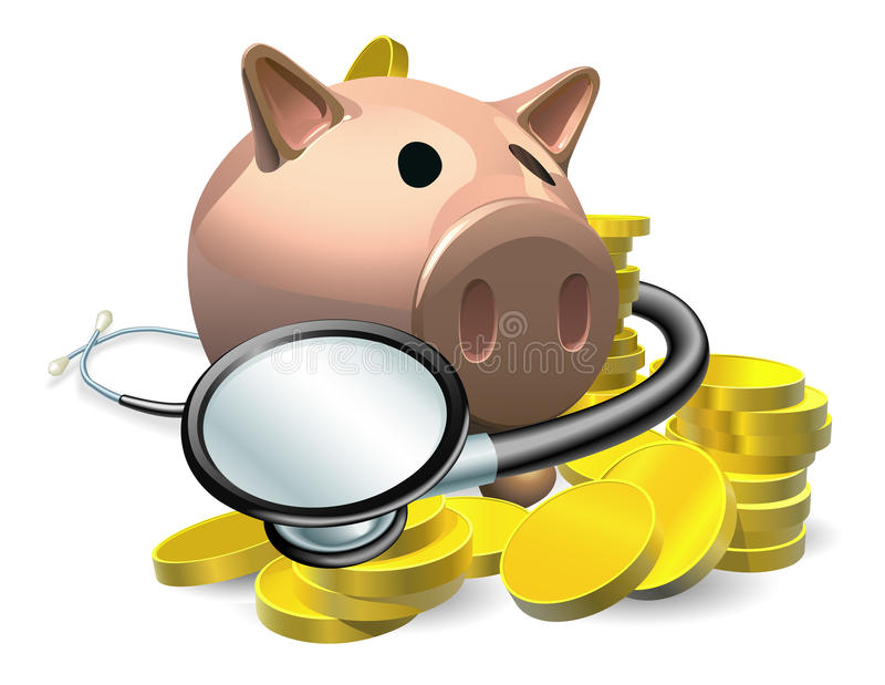 Financial health check concept. A piggy bank with coins and stethoscope wrapped round it stock illustration