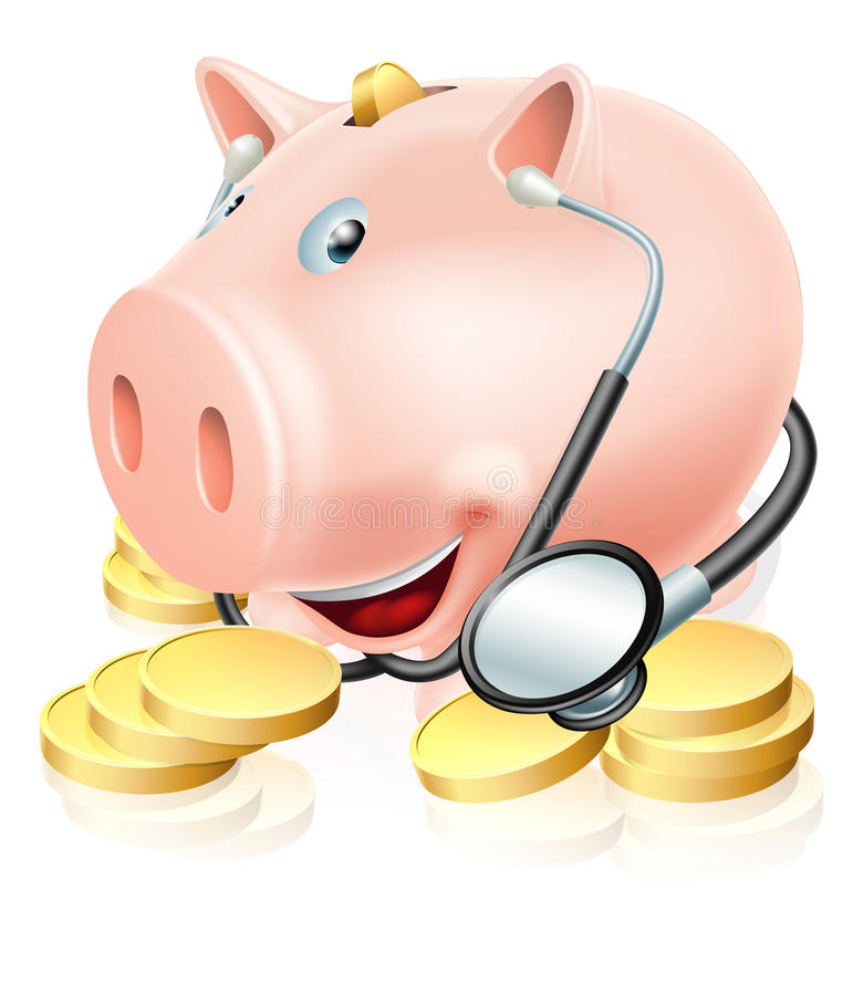 Financial health check. Conceptual illustration of a piggy bank surrounded by gold pennies wearing a stethoscope. Could also relate to medical insurance or royalty free illustration