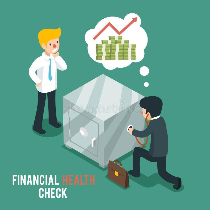 Financial health check isometric 3d vector. Businessmen listen safe using stethoscope. Finance check, stethoscope and businessman, business financial health stock illustration