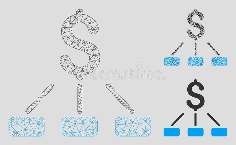 Financial Hierarchy Vector Mesh Wire Frame Model and Triangle Mosaic Icon stock illustration