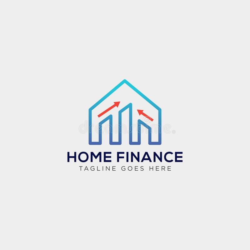 financial home, logo template vector illustration with business card stock illustration