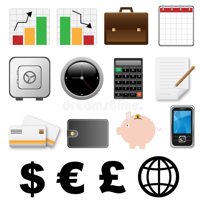Financial icons stock illustration