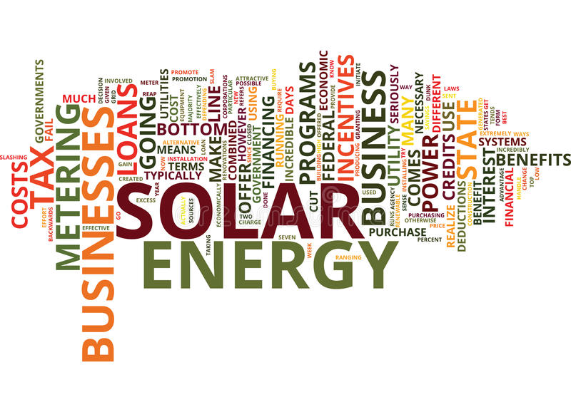 Financial Incentives For Your Business To Use Solar Power Text Background Word Cloud Concept stock illustration