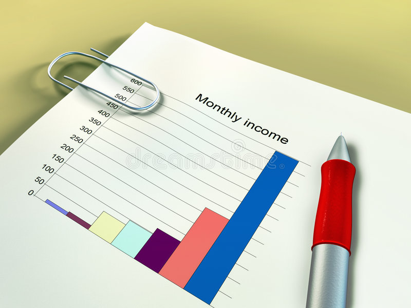 Financial income. Monthly income report on a desk. Digital illustration stock illustration