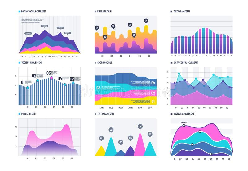Financial infographic. Business bar graph and line histogram, economic diagram and stock chart. Marketing infographics. Vector elements. Graph and diagram stock illustration