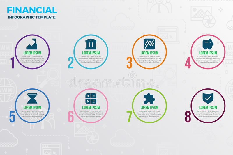 Financial infographic template. With icons and number option royalty free illustration