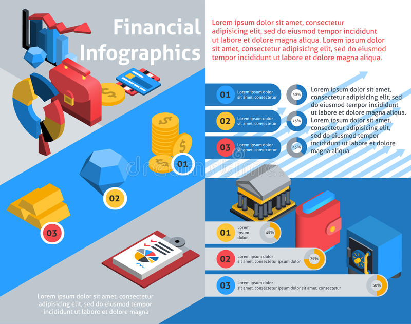 Financial Infographics Isometric royalty free illustration