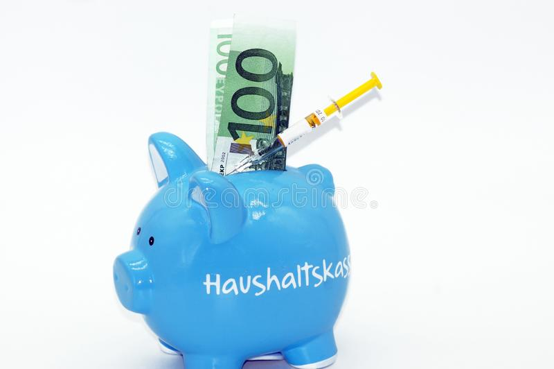 Financial injection for the piggy bank stock photos