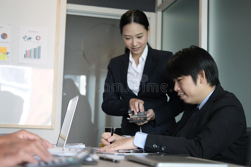 Financial inspector analyze accounting plan report. businessman royalty free stock image