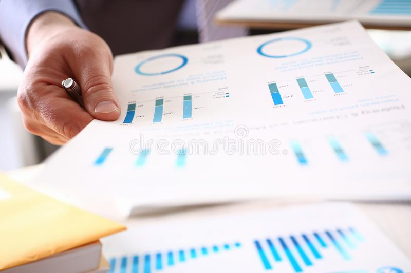 Financial Inspector Calculating Corporation Tax. Business Man Bookkeeping Job. Profit Accounting with Color Graph. Audit Inspection and Calculating Expenses stock photography