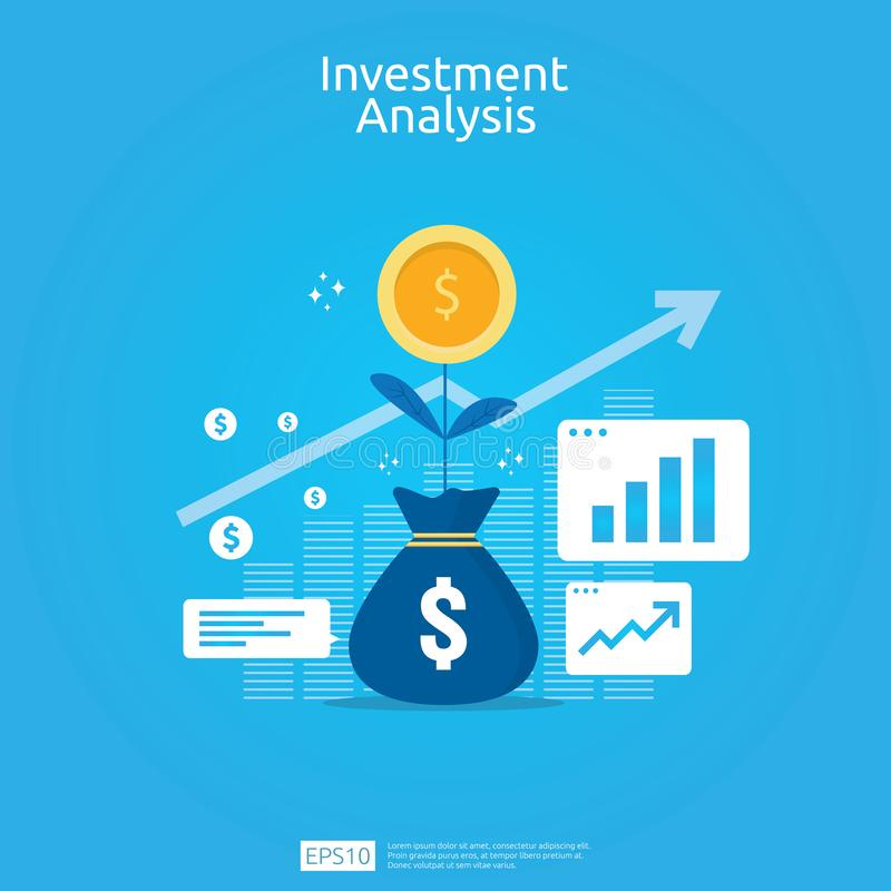 Financial investment analysis concept for business marketing strategy banner. Return on investment ROI vision with graph chart. vector illustration
